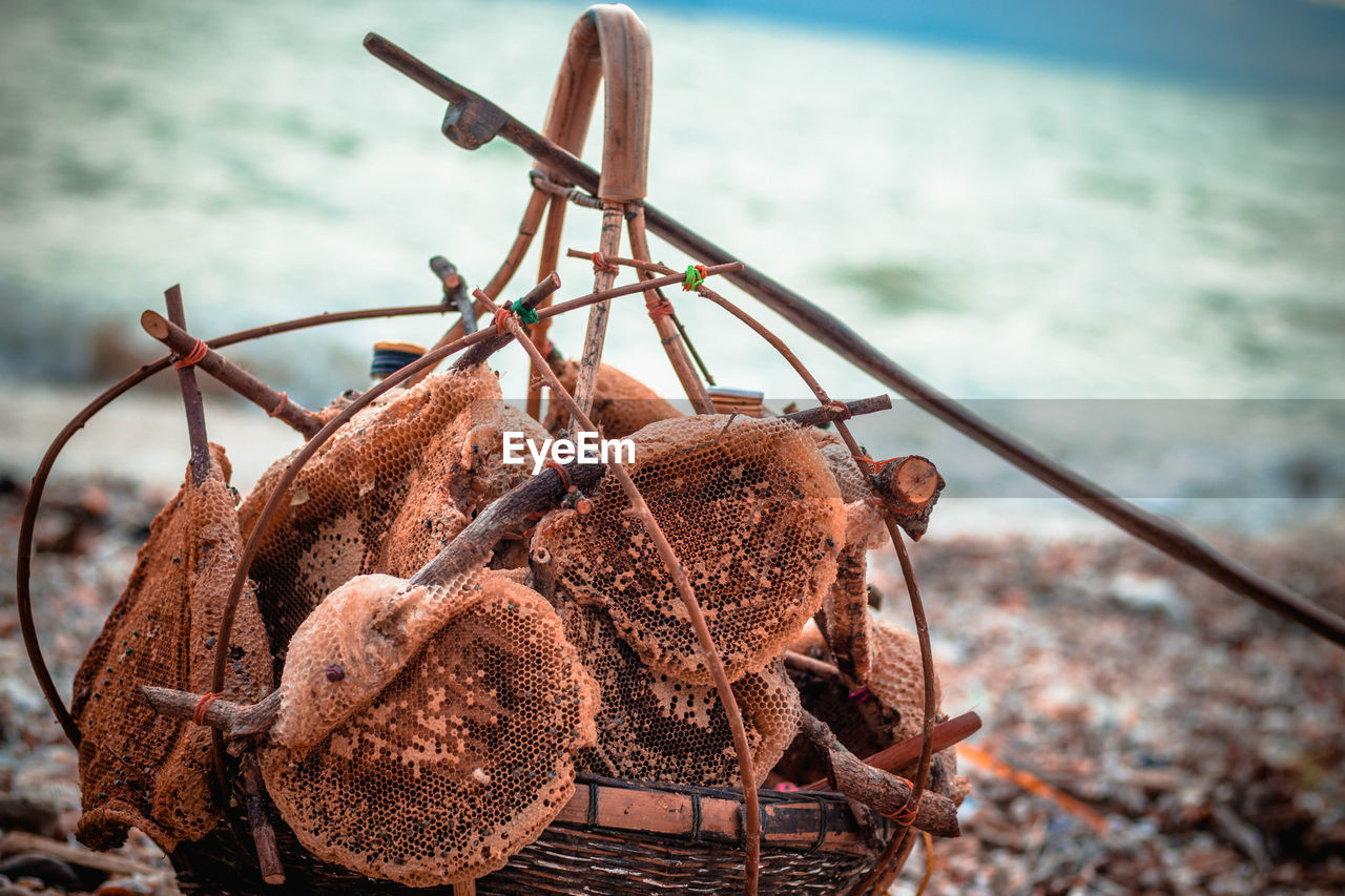 focus on foreground, no people, day, metal, nature, rusty, close-up, brown, water, sea, outdoors, hanging, transportation, abandoned, mode of transportation, nautical vessel, land, selective focus, wood - material
