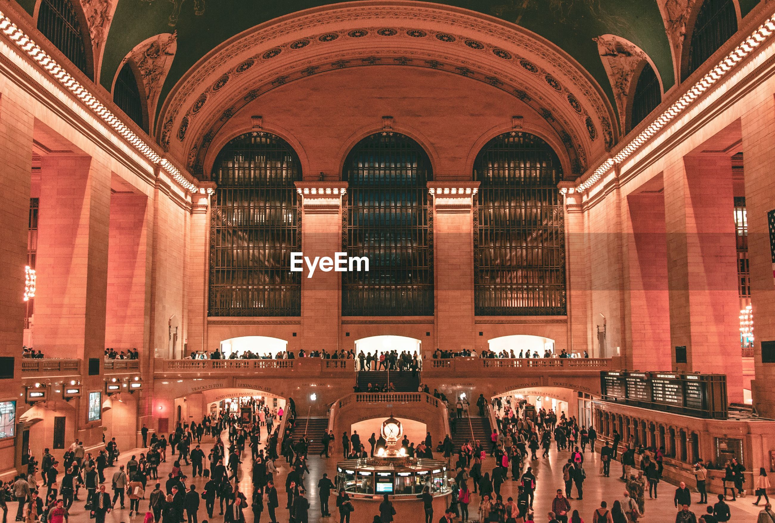 High angle view of crowd in grand central station