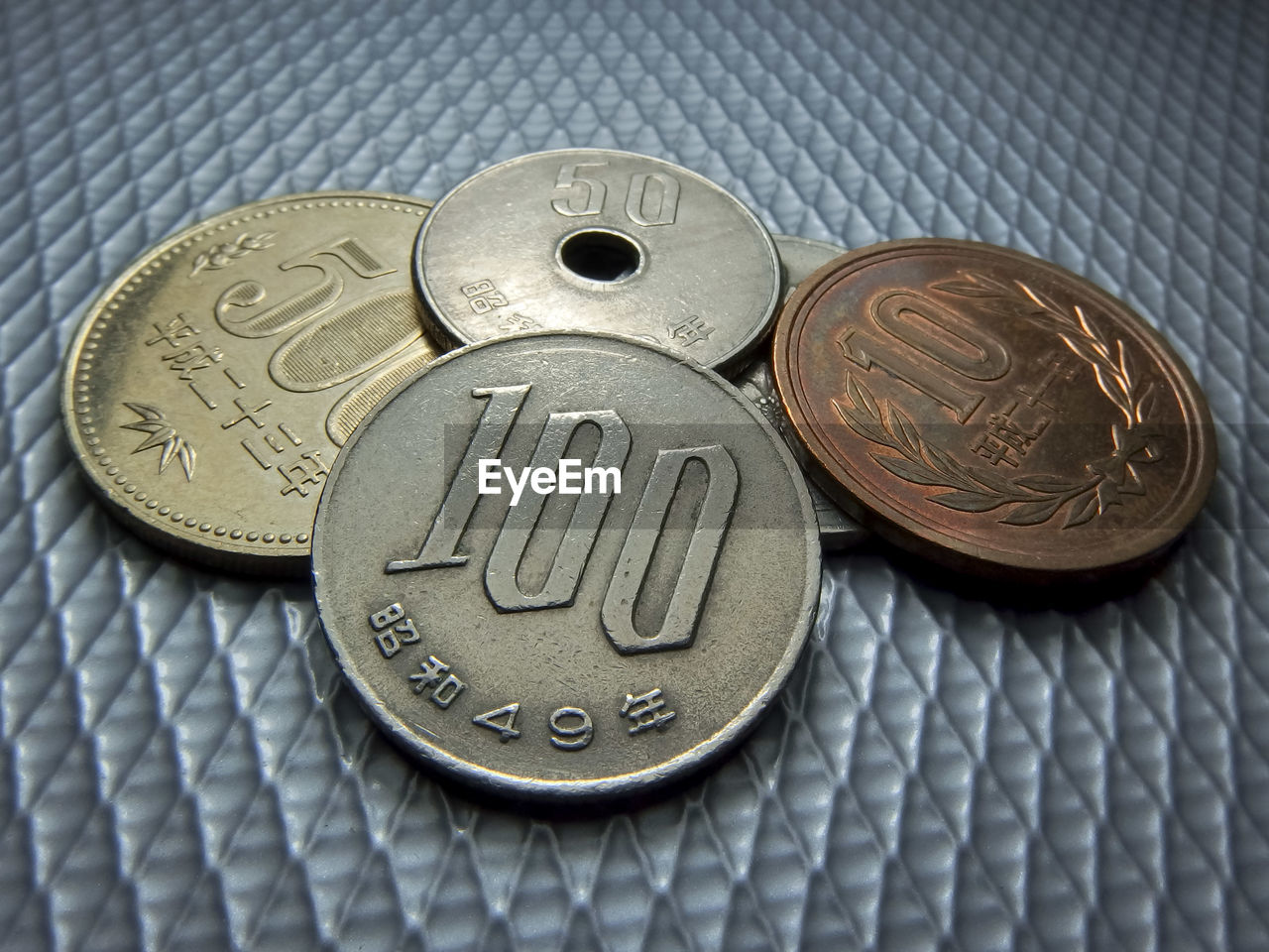 Close-up of old coins