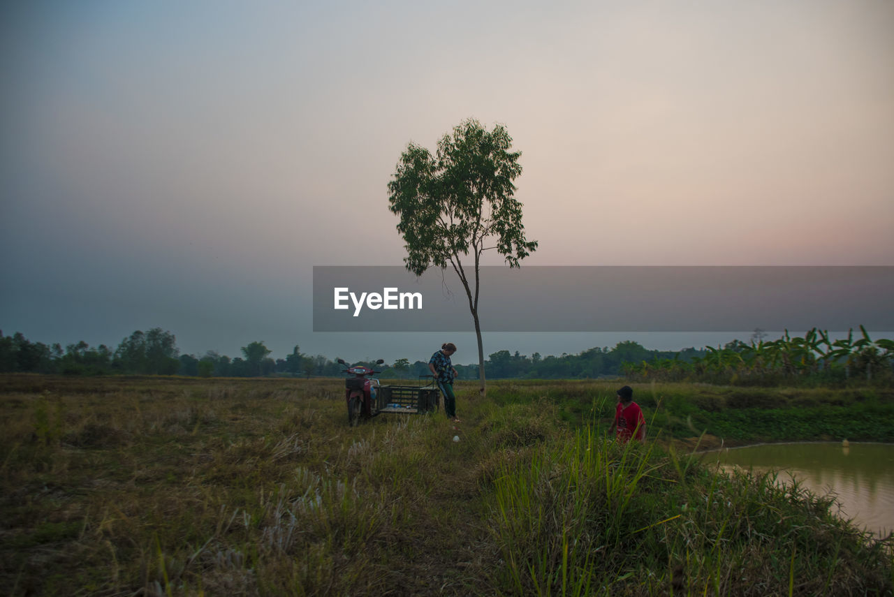 plant, land, sky, tree, field, real people, men, environment, nature, landscape, grass, beauty in nature, sunset, growth, scenics - nature, occupation, people, group of people, tranquility, outdoors, farmer