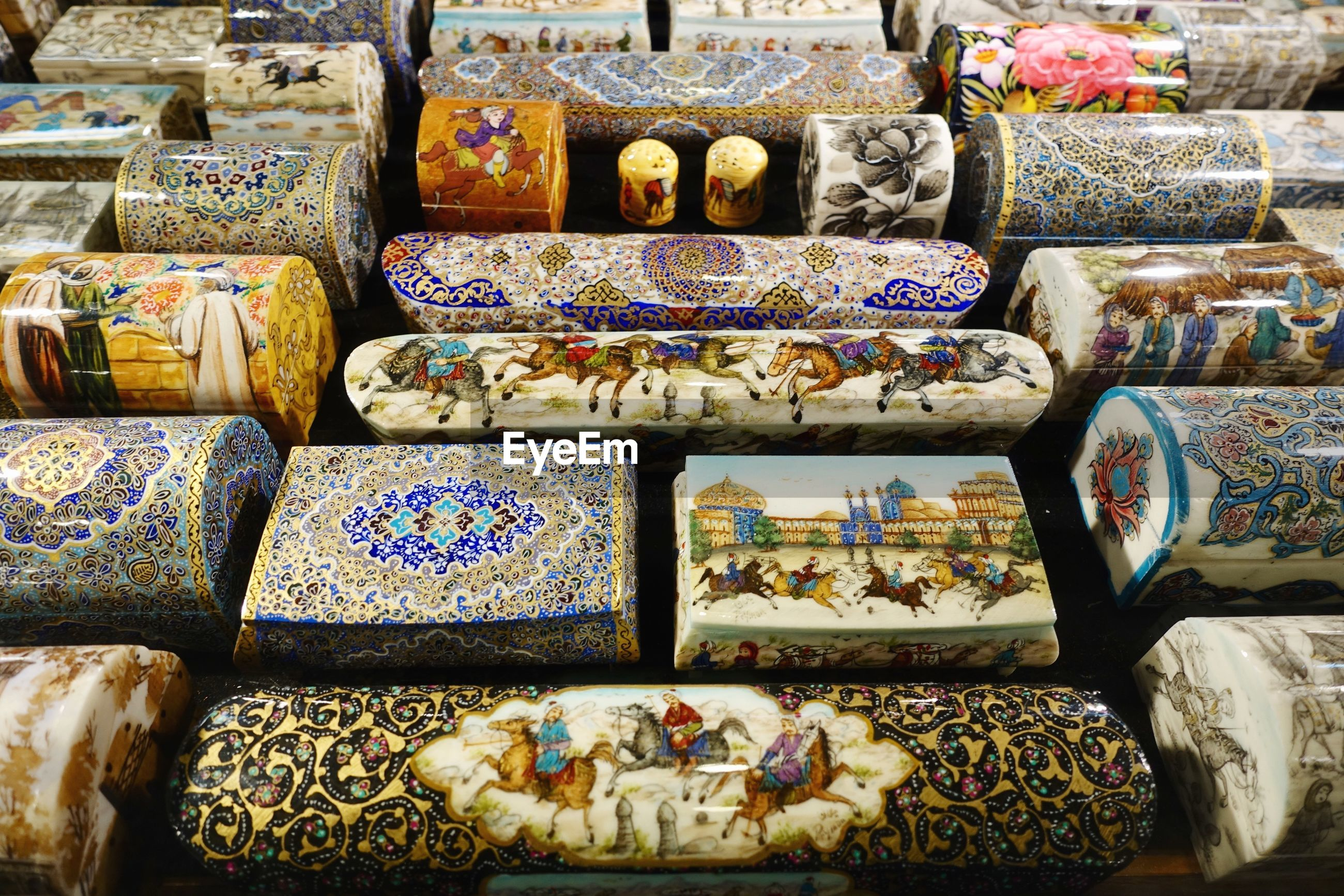 High angle view of antiques for sale in store