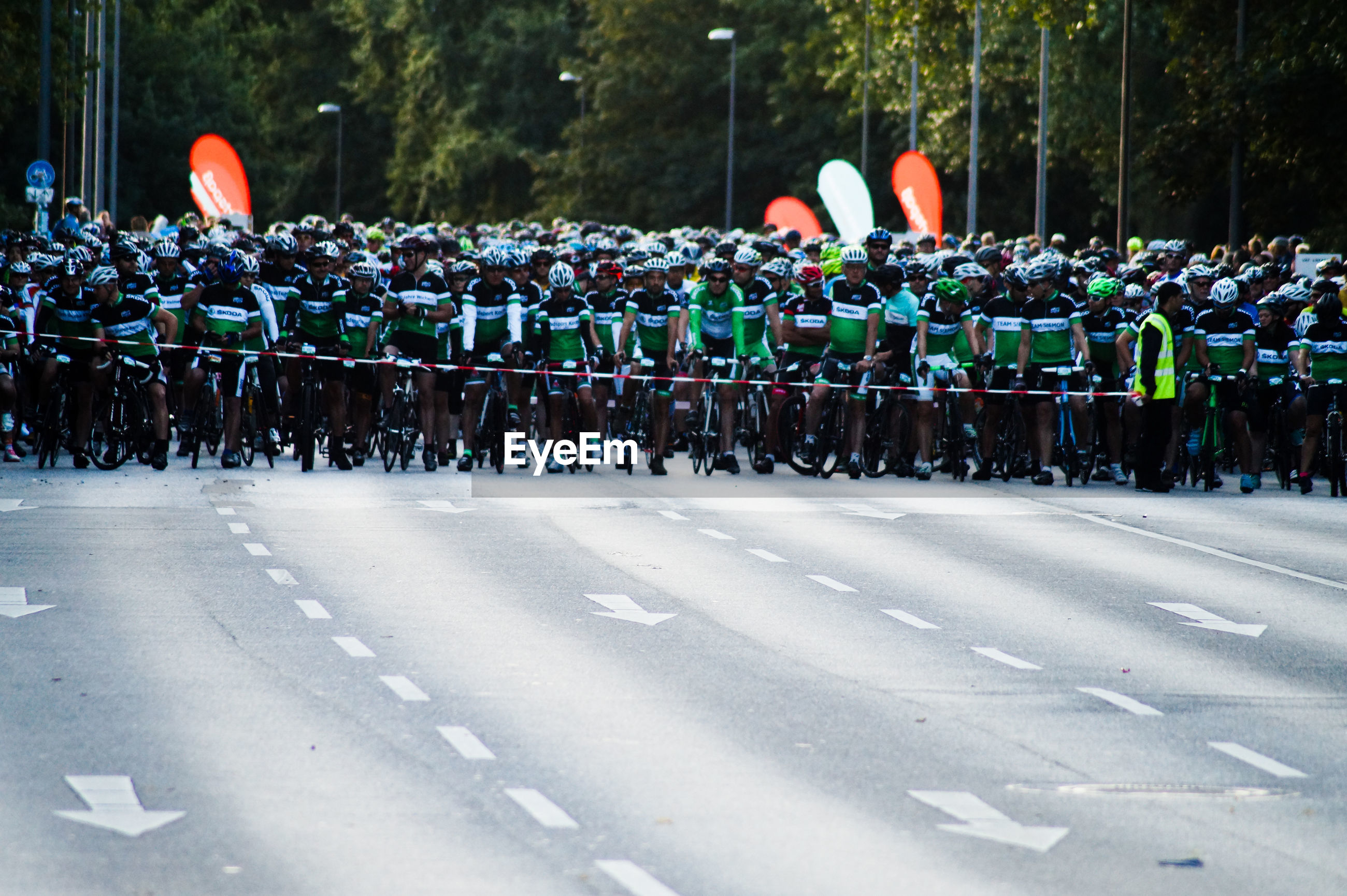 Crowd of bicyclist waiting at starting line