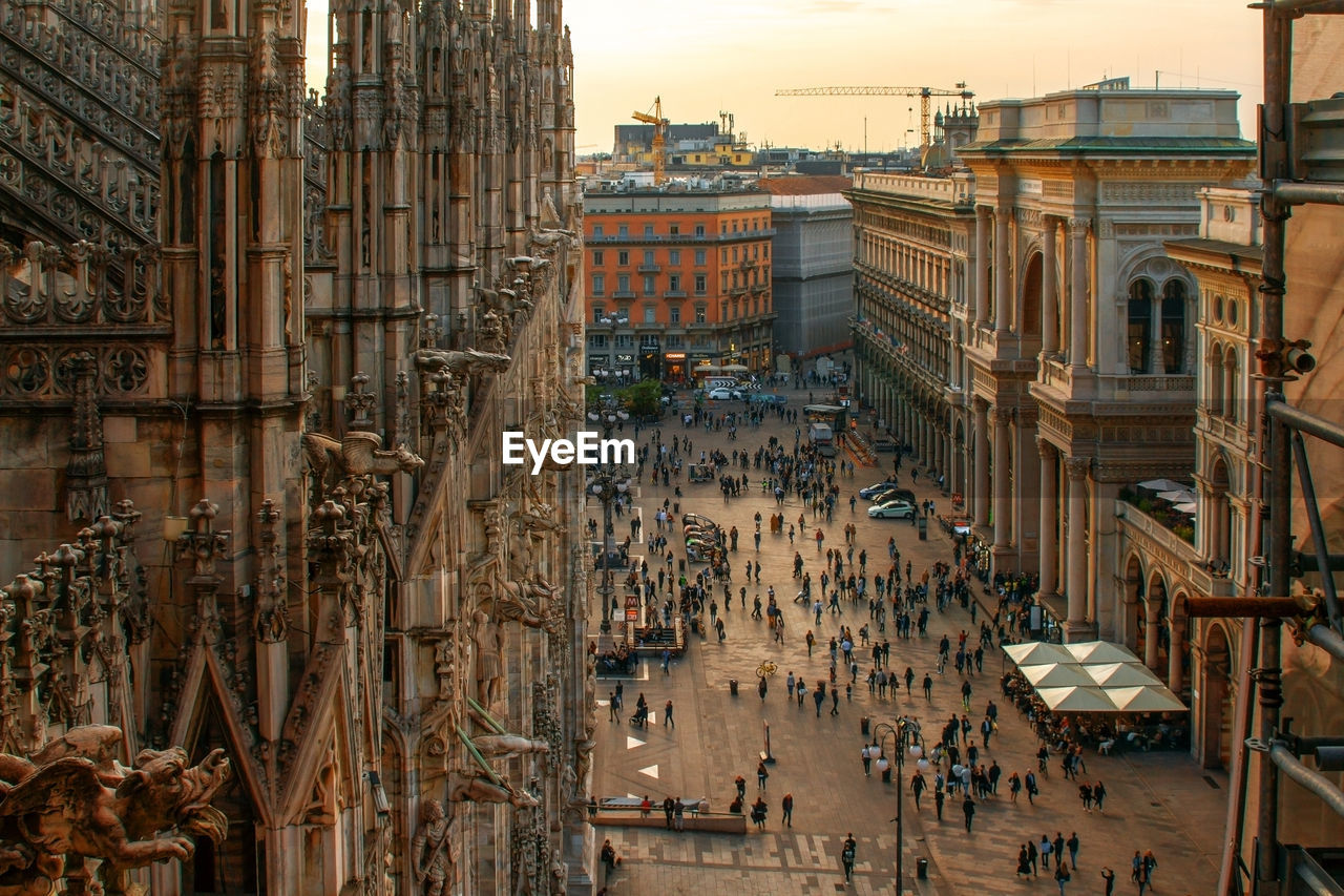 Aerial view on the piazza del duomo with part of milan cathedral.