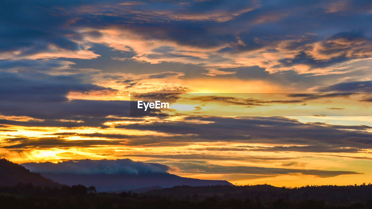 Landscape Dramatic Cloud Sunset Of Yellow And Blue On Eyeem