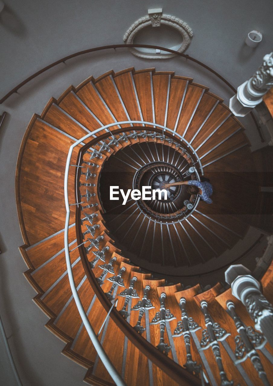 spiral, staircase, steps and staircases, railing, steps, spiral stairs, architecture, stairs, design, built structure, high angle view, no people, hand rail, indoors, spiral staircase, close-up, day