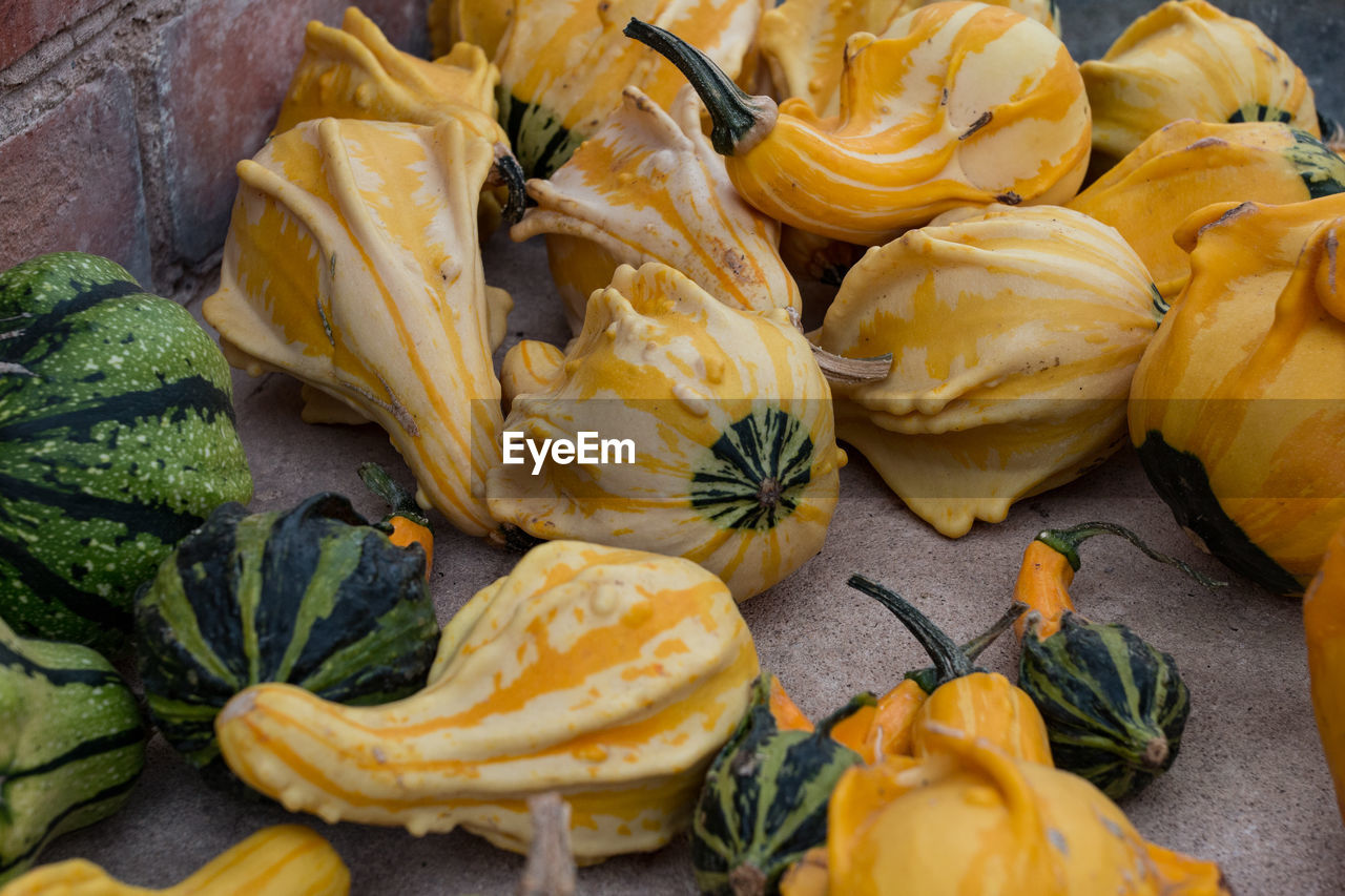 High angle view of squashes for sale in market