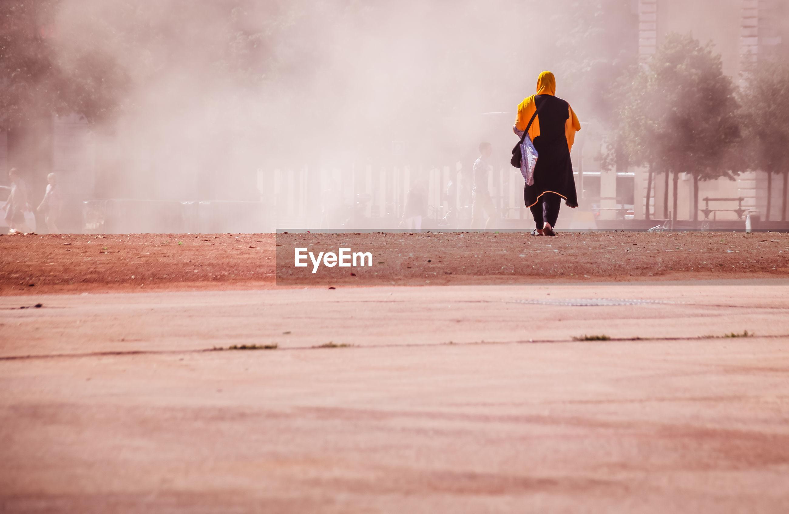 Rear view of woman walking on field in city