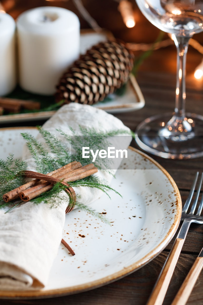 Close-up of napkin in plate on table