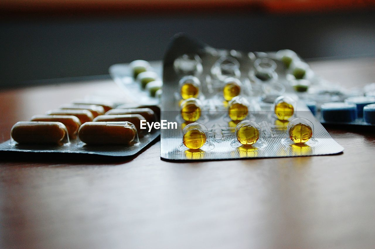 Medicine blister pack on table