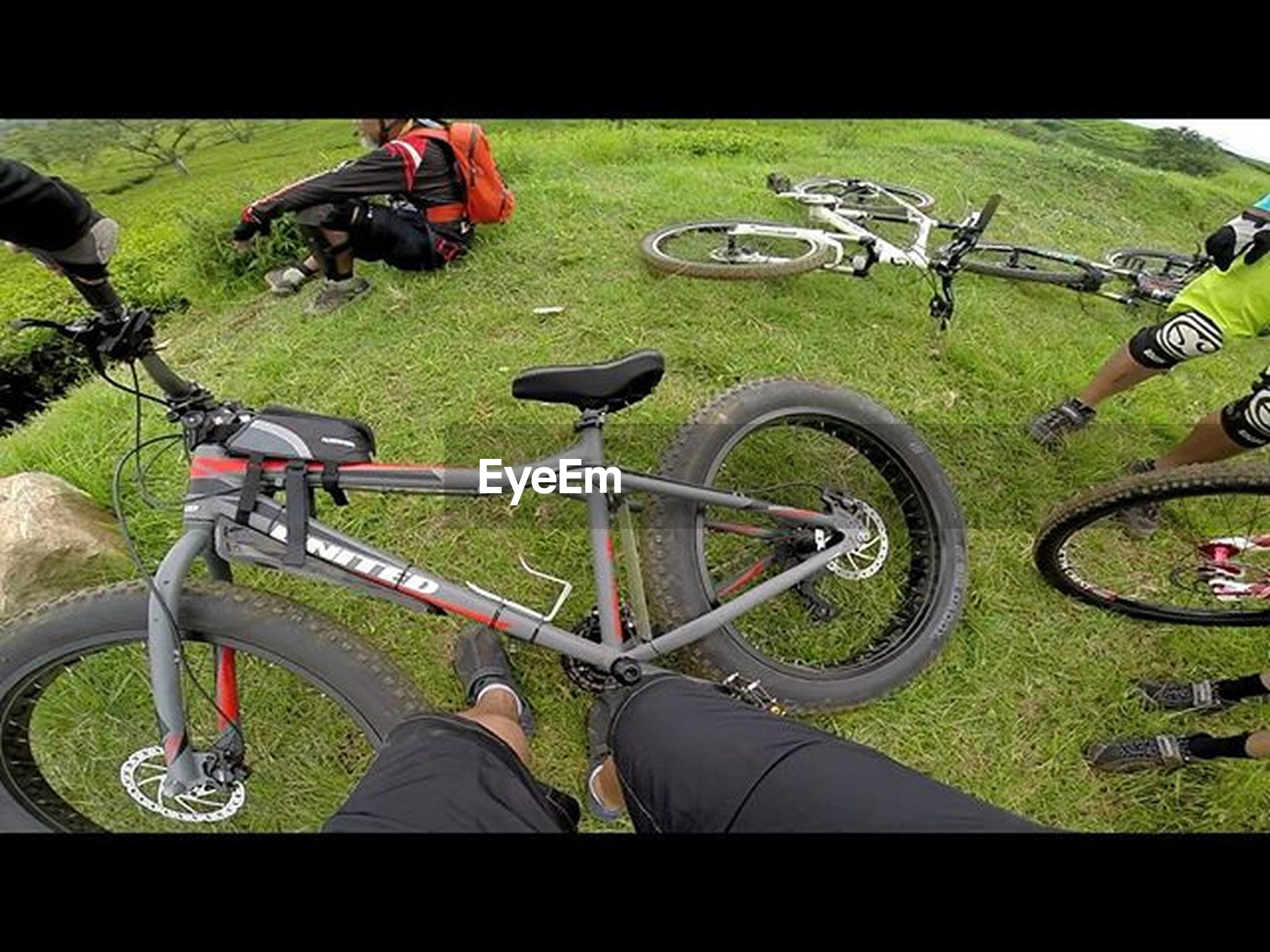 transfer print, bicycle, grass, auto post production filter, land vehicle, men, mode of transport, transportation, green color, park - man made space, leisure activity, high angle view, field, lifestyles, outdoors, day, sport, street