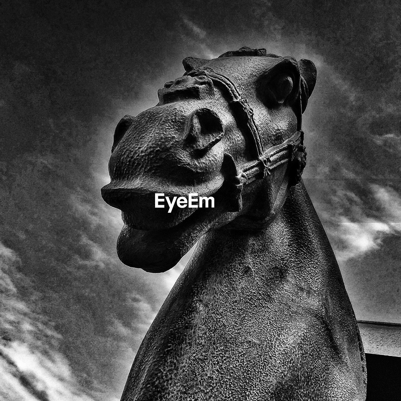 Low angle view of horse statue against sky