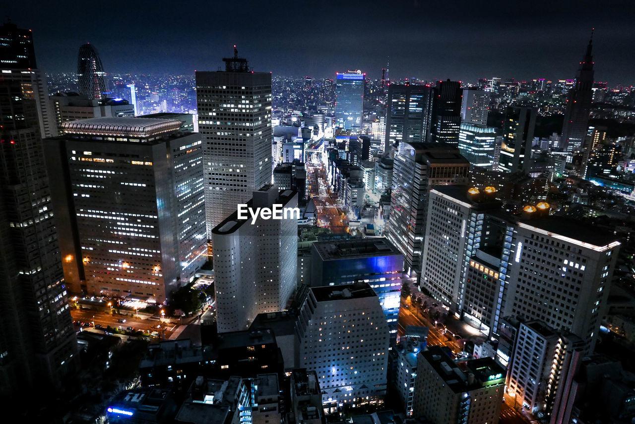 High Angle Shot Of Illuminated Cityscape