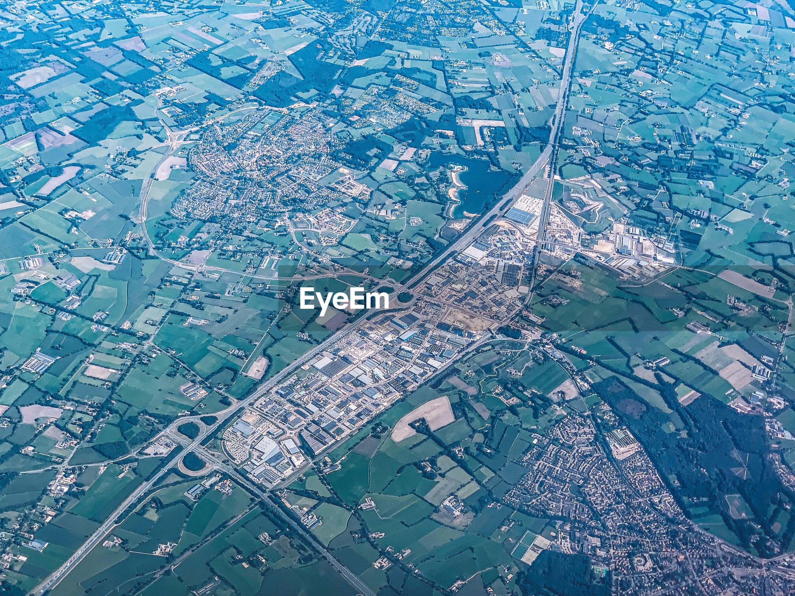 AERIAL VIEW OF CITY DURING RAINY SEASON