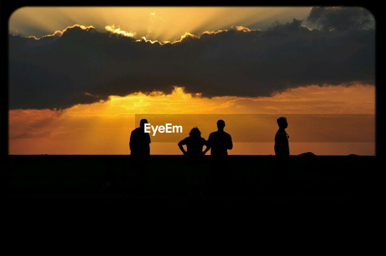 silhouette, sunset, sky, nature, outdoors, scenics, cloud - sky, beauty in nature, togetherness, tree, landscape, real people, men, day, people