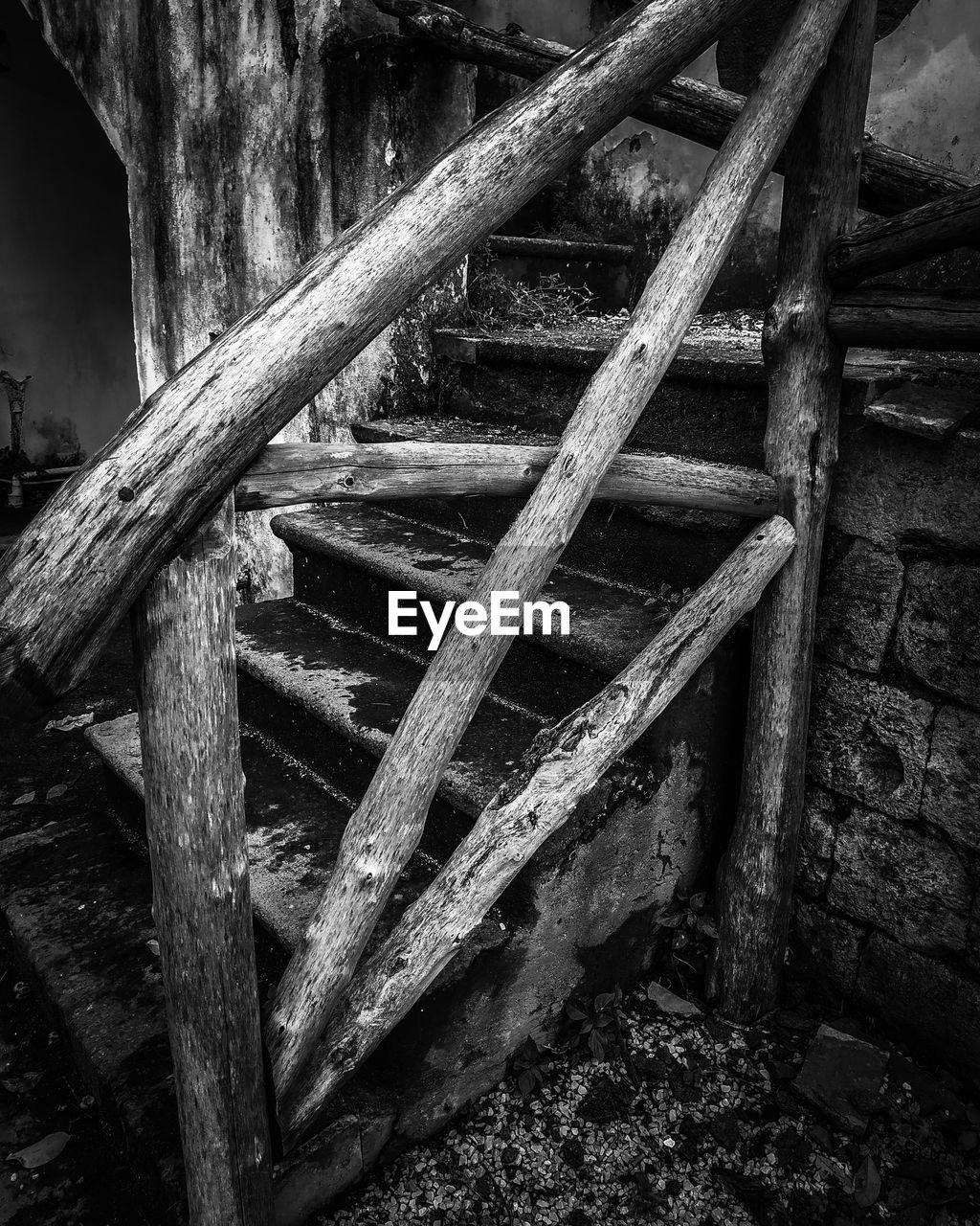 wood - material, old, architecture, no people, damaged, abandoned, decline, deterioration, built structure, obsolete, metal, day, run-down, weathered, indoors, bad condition, wall - building feature, ladder, staircase