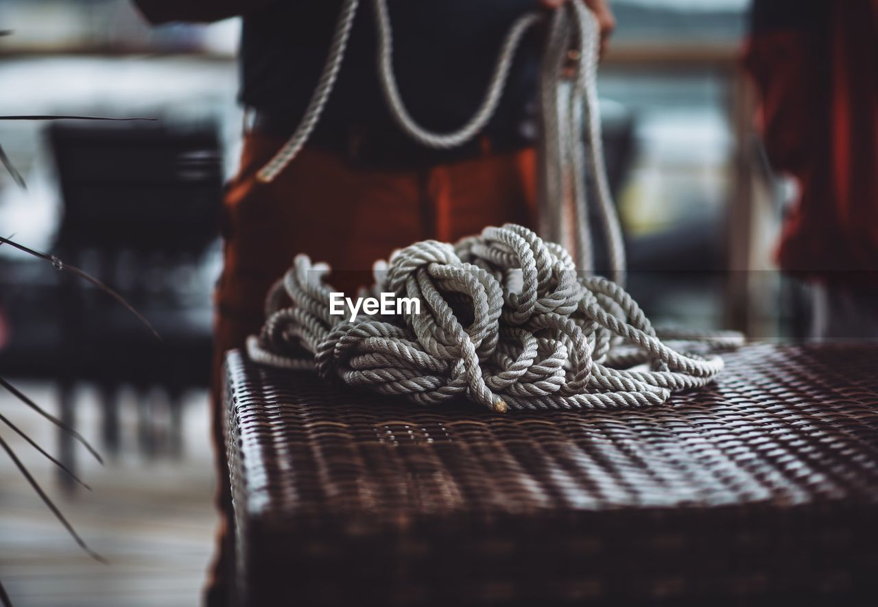 Close-Up Of Rope On Basket