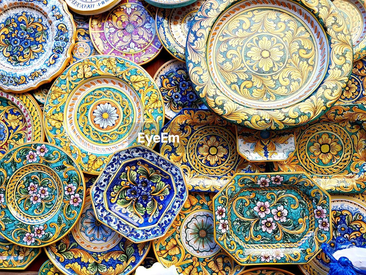 art and craft, pattern, backgrounds, full frame, design, no people, craft, multi colored, for sale, creativity, close-up, market, ornate, blue, day, floral pattern, large group of objects, ceramics, retail, architecture