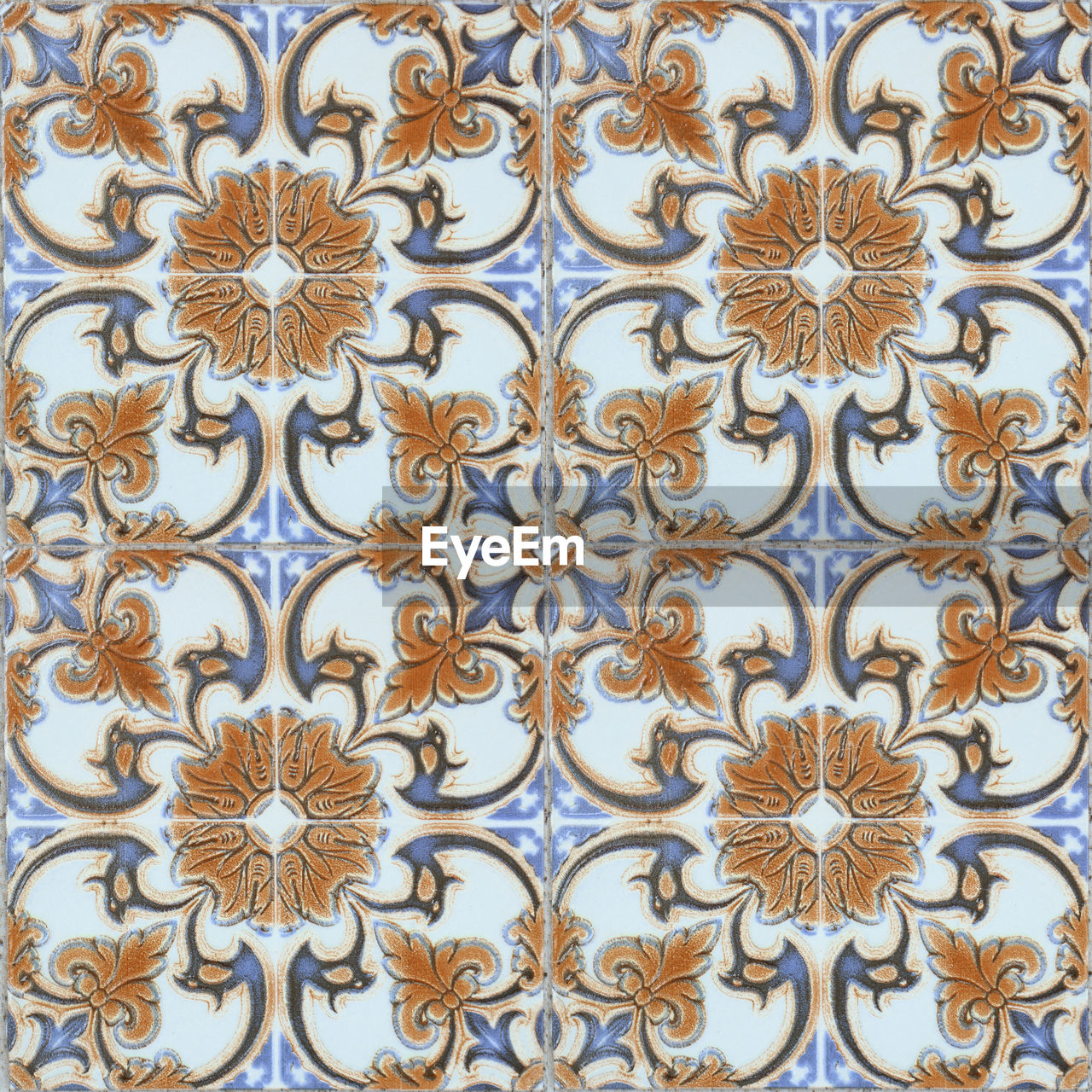 pattern, floral pattern, no people, design, backgrounds, full frame, indoors, close-up, art and craft, creativity, wall - building feature, craft, blue, built structure, architecture, ornate, day, carving - craft product, textured, metal, tiled floor, wrought iron