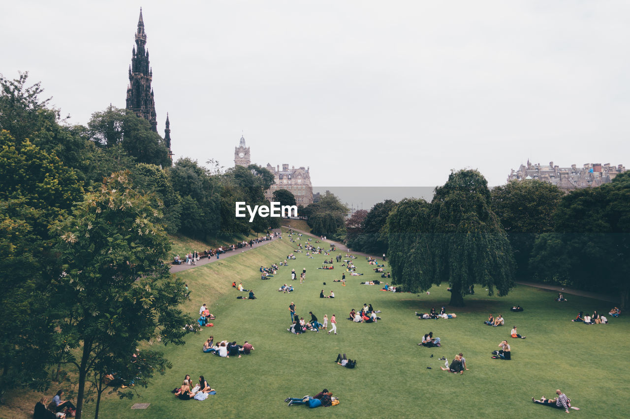 High Angle View Of People In Park