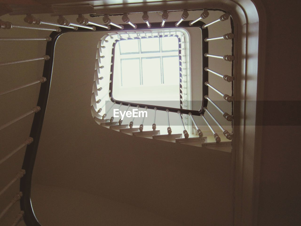 Low Angle View Of Stairs And Hand Rails