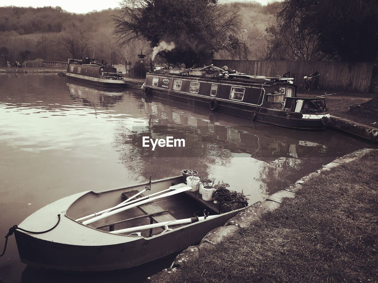 Boats Moored At Kennet And Avon Canal
