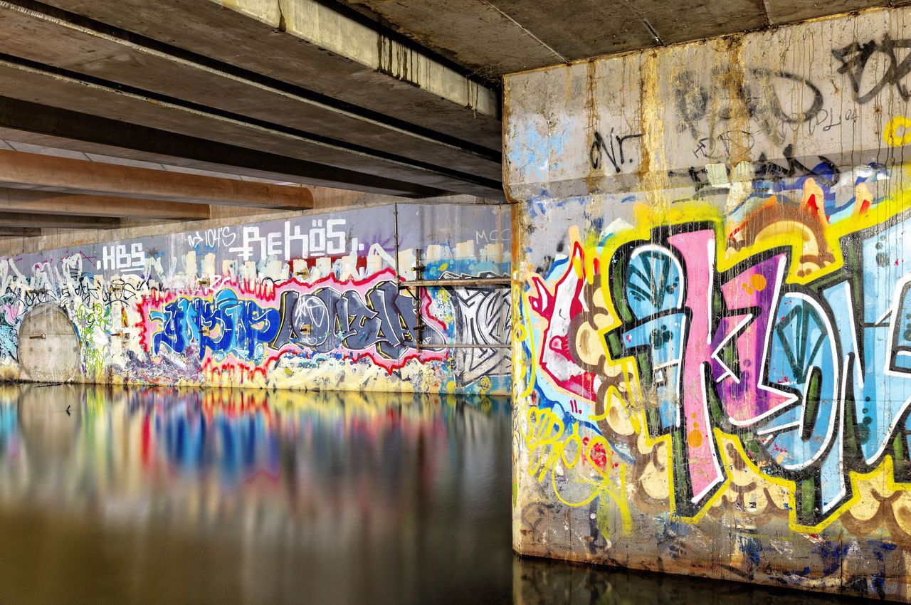 graffiti, multi colored, art and craft, creativity, wall - building feature, no people, text, architecture, street art, built structure, paint, day, messy, craft, wall, indoors, communication, western script, ceiling, message, mural