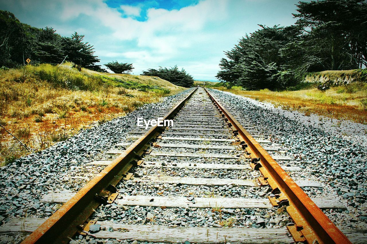 rail transportation, direction, railroad track, transportation, track, the way forward, diminishing perspective, tree, plant, sky, cloud - sky, vanishing point, nature, no people, day, metal, outdoors, straight, growth, travel, gravel, surface level, long, parallel