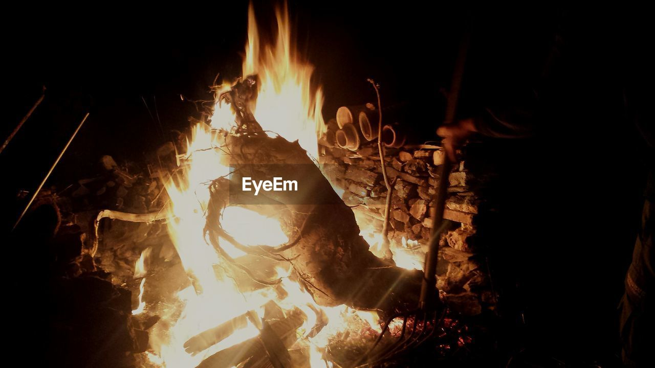 burning, flame, heat - temperature, night, bonfire, motion, no people, outdoors, close-up, nature