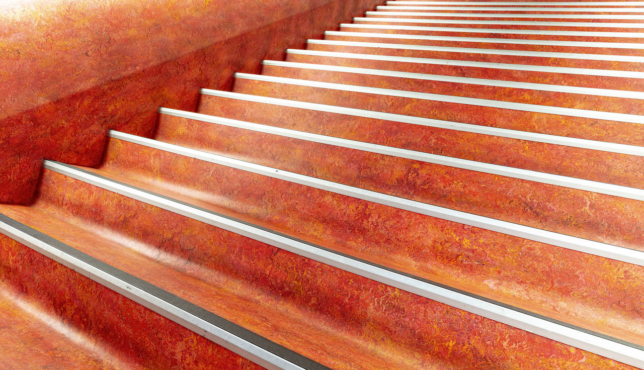 staircase, pattern, steps and staircases, no people, red, railing, high angle view, architecture, indoors, in a row, backgrounds, close-up, full frame, day, brown, repetition, built structure, nature, metal