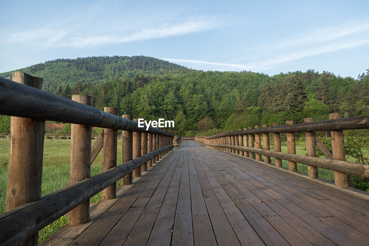 wood - material, railing, tree, outdoors, nature, sky, footbridge, bridge - man made structure, day, the way forward, tranquility, no people, wood paneling, landscape, forest, scenics, beauty in nature