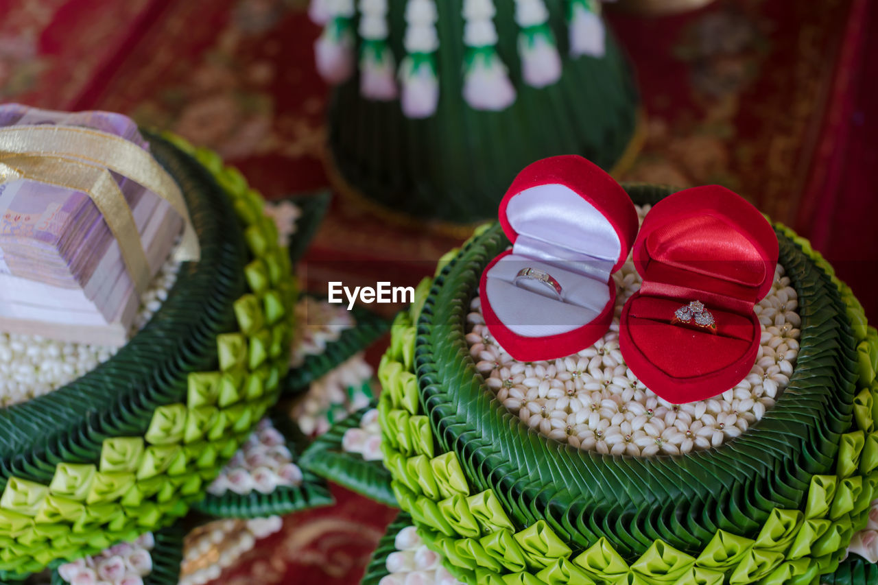 indoors, close-up, no people, still life, focus on foreground, green color, table, high angle view, hat, pattern, freshness, celebration, textile, red, food and drink, decoration, food, day, selective focus