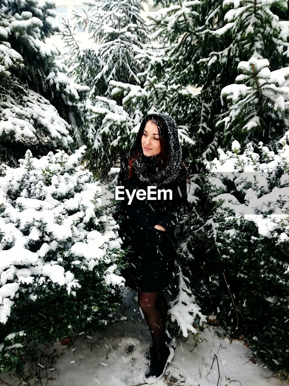 Young woman standing amidst plants during snowfall