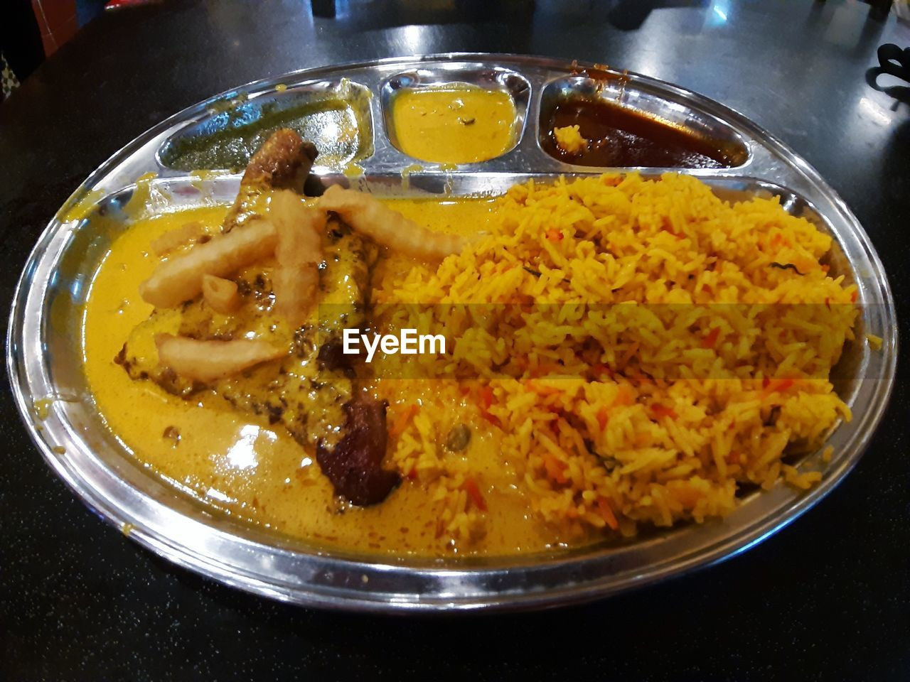food, food and drink, indoors, ready-to-eat, freshness, close-up, no people, still life, wellbeing, kitchen utensil, healthy eating, curry, high angle view, serving size, meal, asian food, indian food, gravy, rice - food staple, temptation, crockery