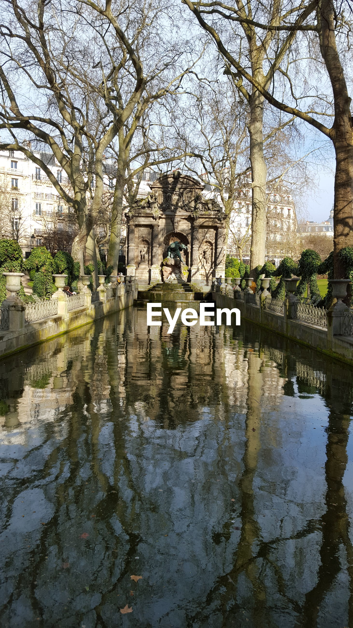 Pond amidst bare trees at le jardin du luxembourg garden