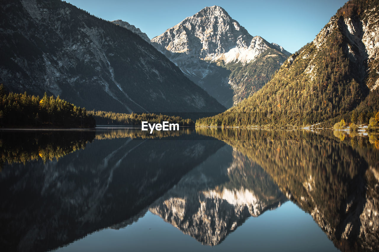 Scenic Reflection Of Mountain And Lake Against Sky