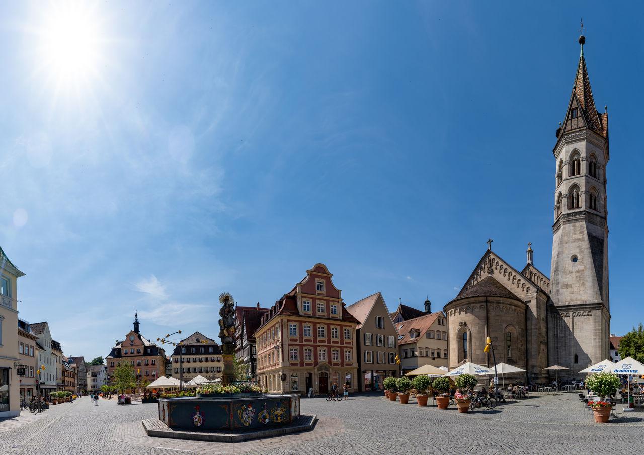 VIEW OF BUILDINGS IN TOWN AGAINST SKY IN CITY