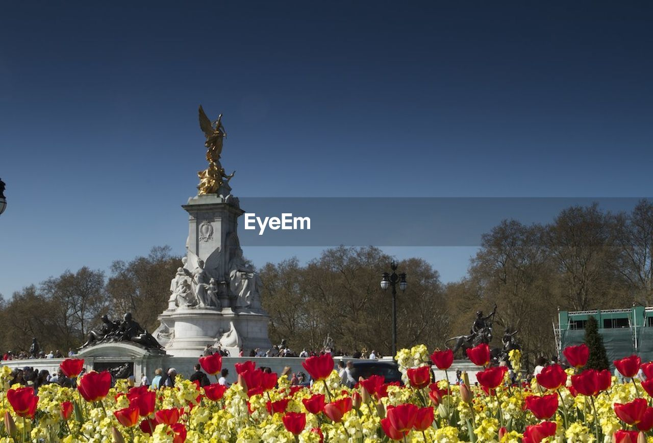 statue, flower, human representation, sculpture, clear sky, outdoors, day, red, nature, tree, no people, poppy, sky