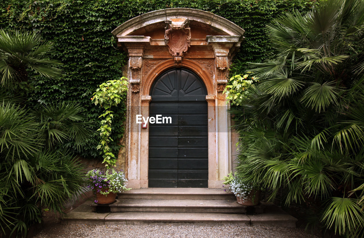 Closed Entrance Surrounded By Plants