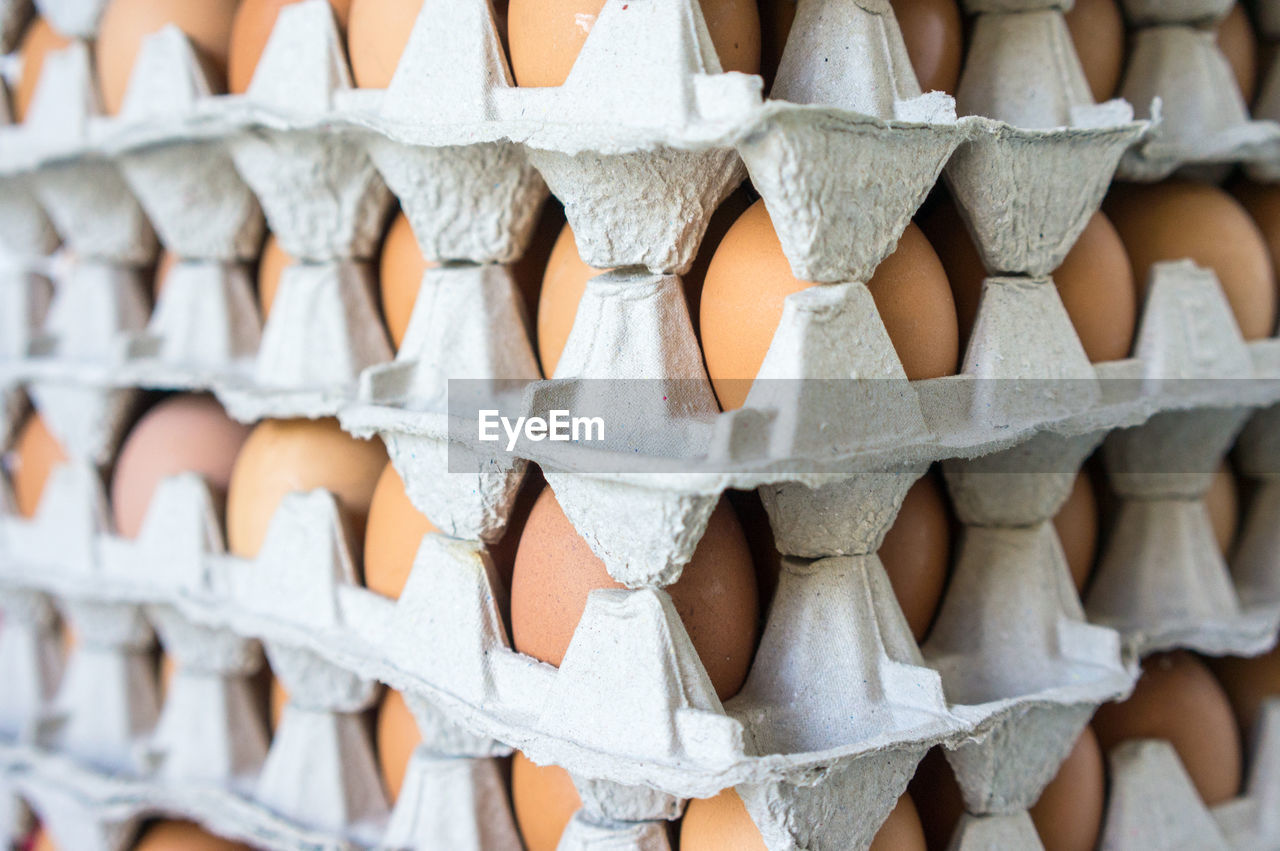 Full frame shot of eggs in carton