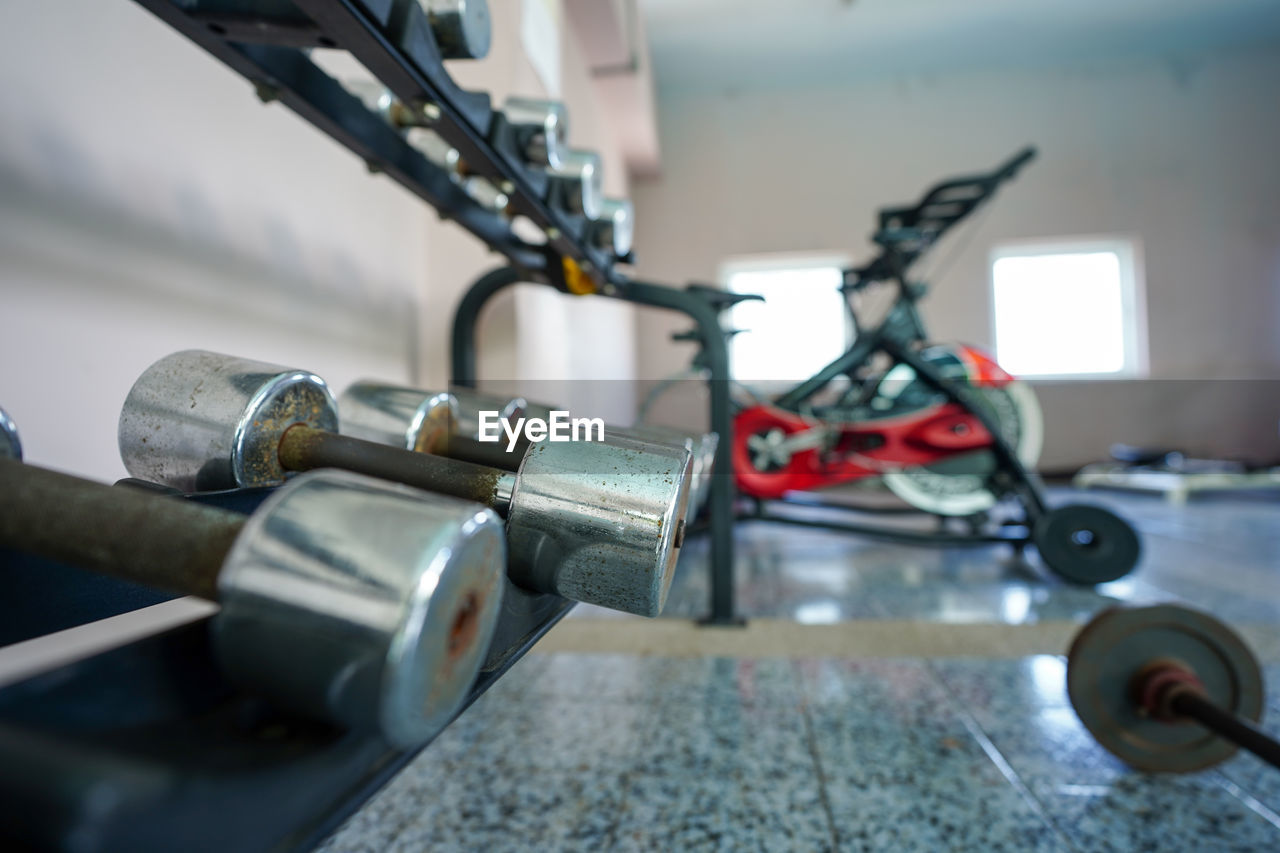 CLOSE-UP OF MACHINE PART WITH BICYCLE
