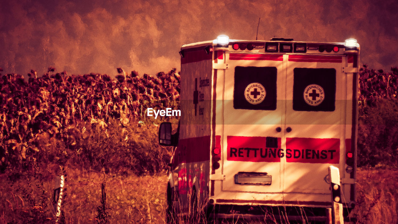 communication, text, nature, western script, red, transportation, sign, land, no people, plant, mode of transportation, motion, agriculture, outdoors, land vehicle, field, sky, illuminated, night, rural scene