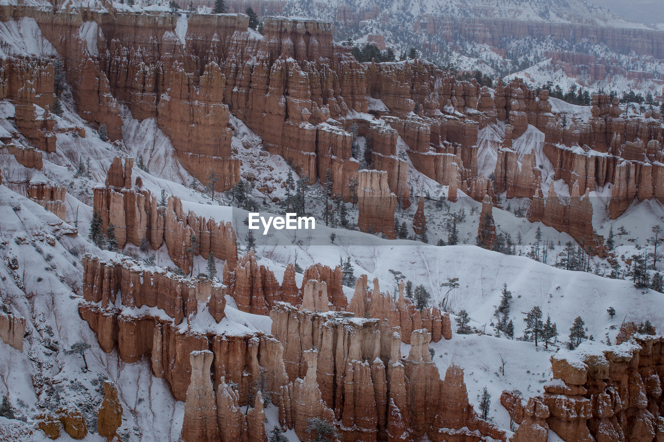 Scenic view of rock formations during winter