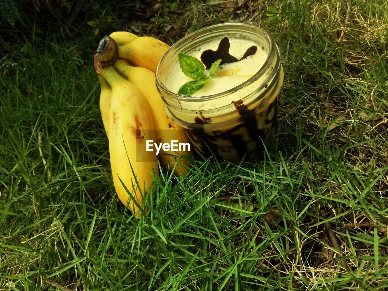 food and drink, food, yellow, banana, fruit, healthy eating, grass, freshness, plant, green color, no people, wellbeing, land, high angle view, field, nature, close-up, day, still life, growth