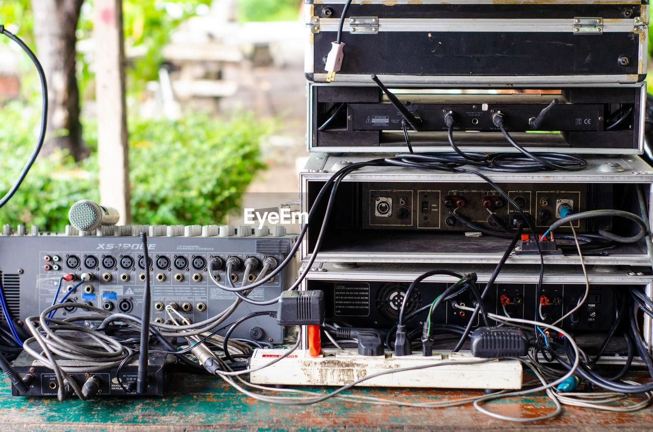 Audio equipment on table