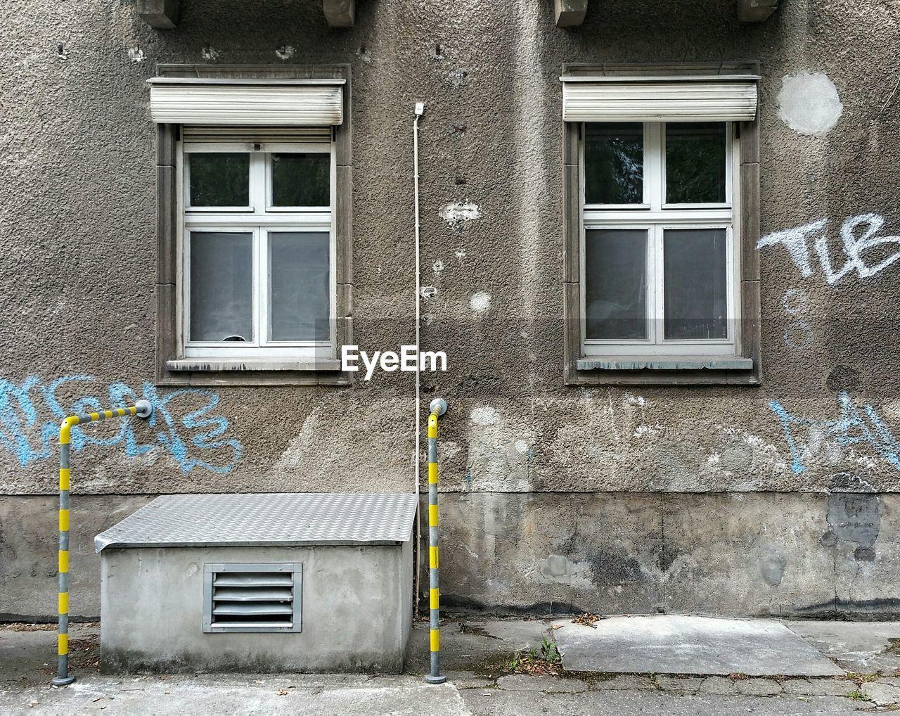 Closed windows of building