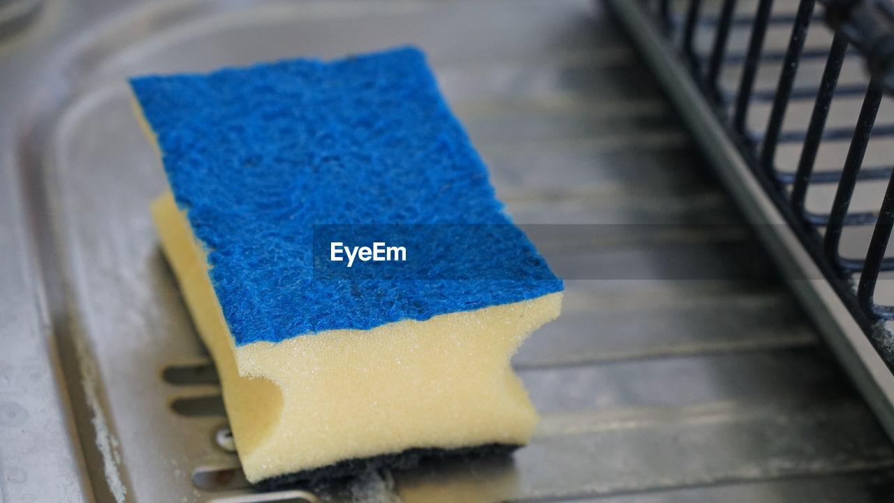 High Angle View Of Blue Sponge