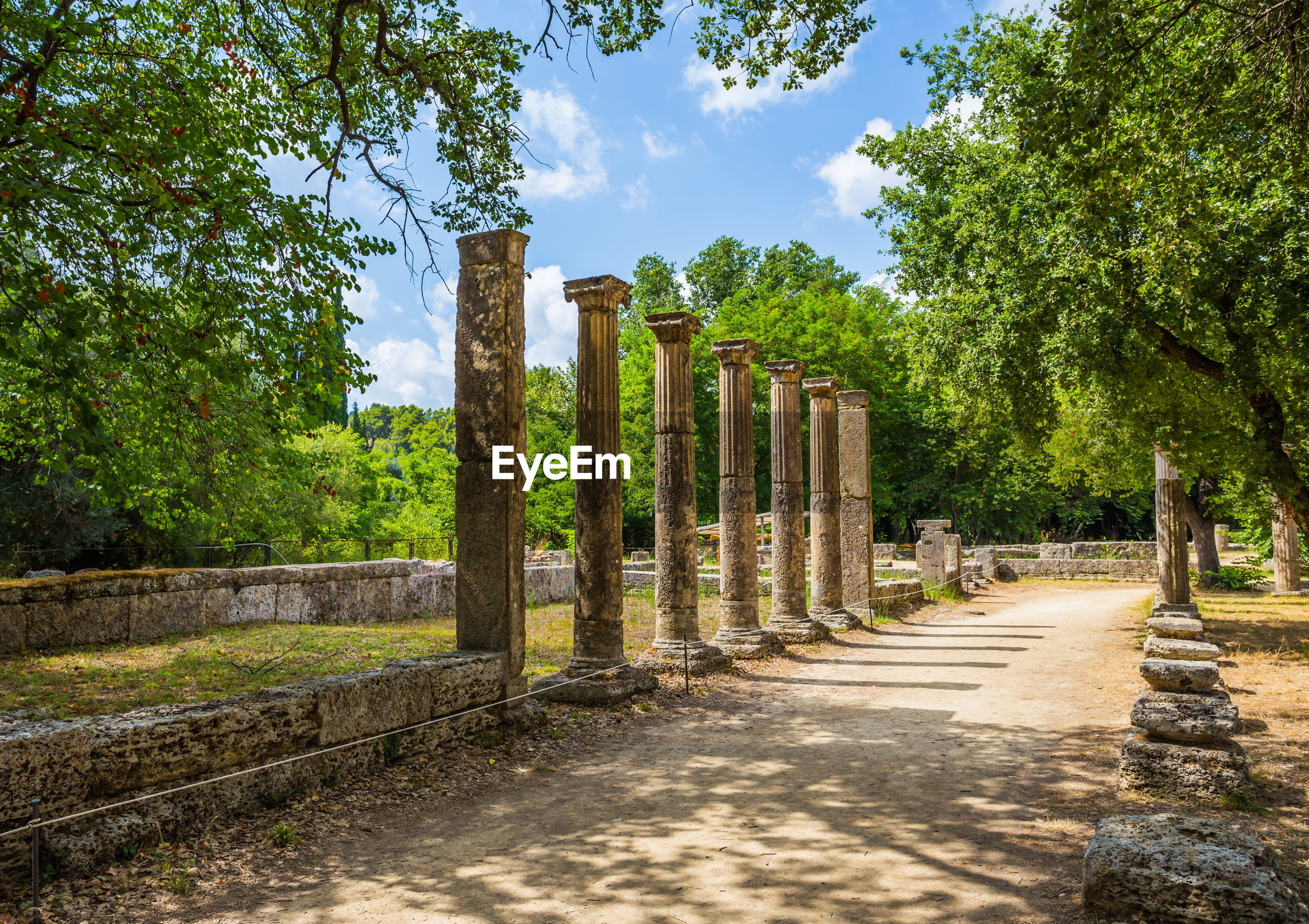Ionic columns of palaestra in ancient olympia, greece