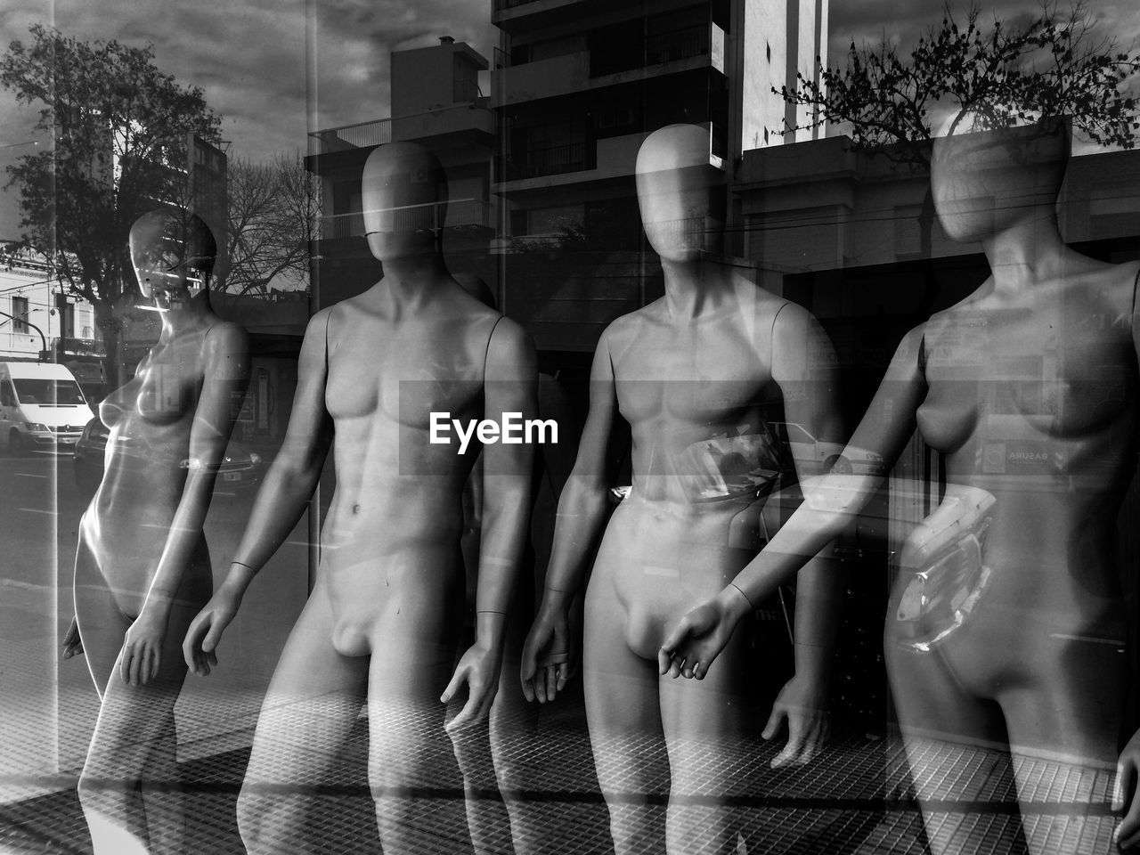 human representation, mannequin, representation, female likeness, art and craft, store, retail, sculpture, male likeness, statue, creativity, no people, retail display, day, shopping, window, transparent, for sale, built structure, digital composite