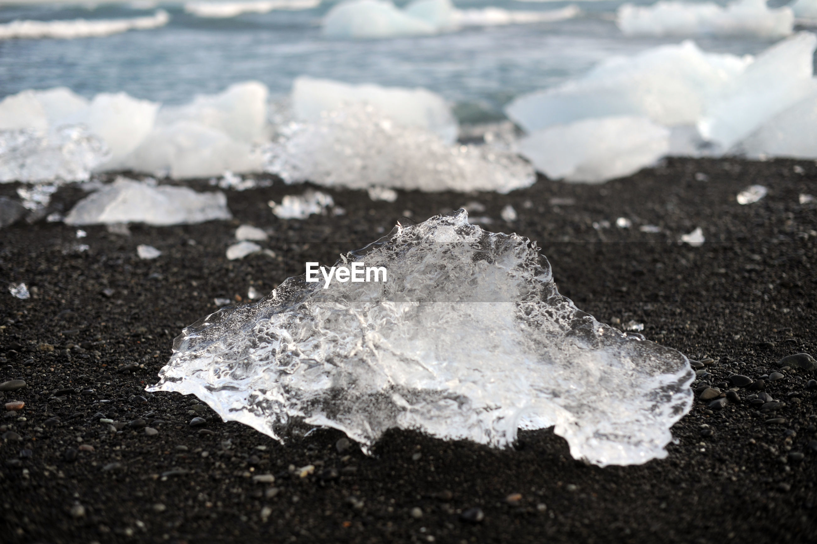 CLOSE-UP OF FROZEN SEA WAVES
