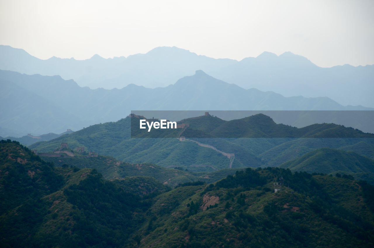 High Angle View Of Great Wall Of China Against Mountains
